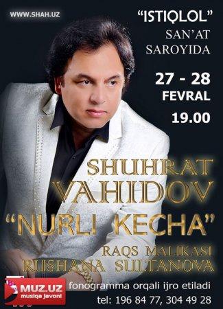 Shuhrat Vohidov ham yakkaxon konsertini taqdim etadi